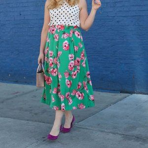 Who What Wear Floral Pleated A-Line Skirt Sz 12